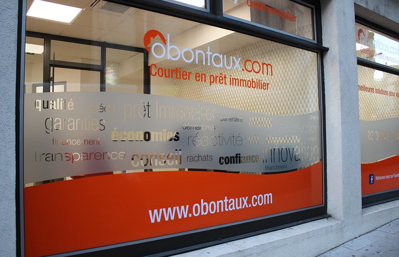 Signaletique adhésif vitrine Angers