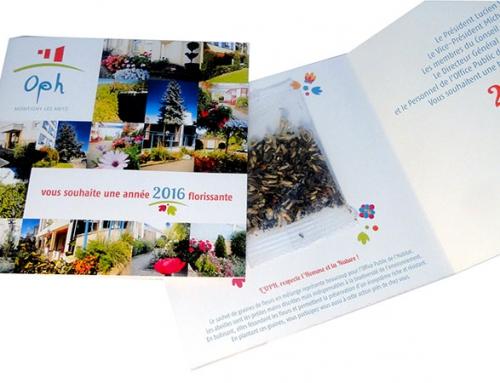 Création carte de vœux 2 volets avec sachet de graines