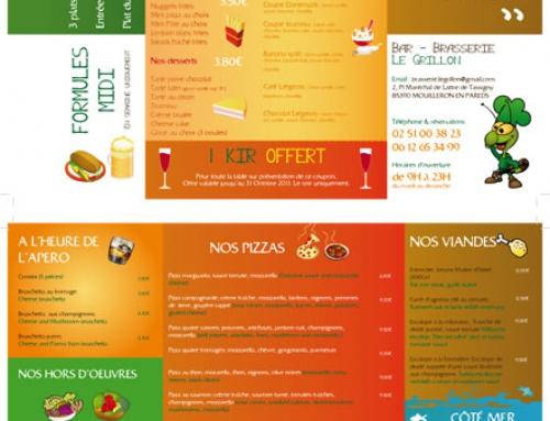 Création d'une carte / menu de restaurant Brasserie Le Grillon