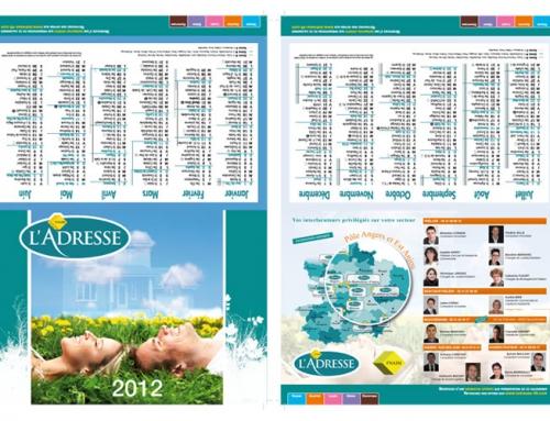 Création d'un calendrier dépliant pour l'Adresse immobilier Angers