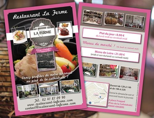 Création d'une communication complète : cartes, flyers, stylos, site Internet restaurant à Angers