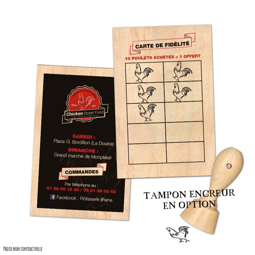 carte de fidélité en bois et tampon