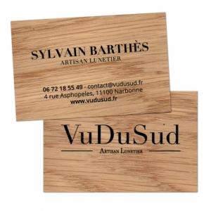 carte de visite en bois recto verso