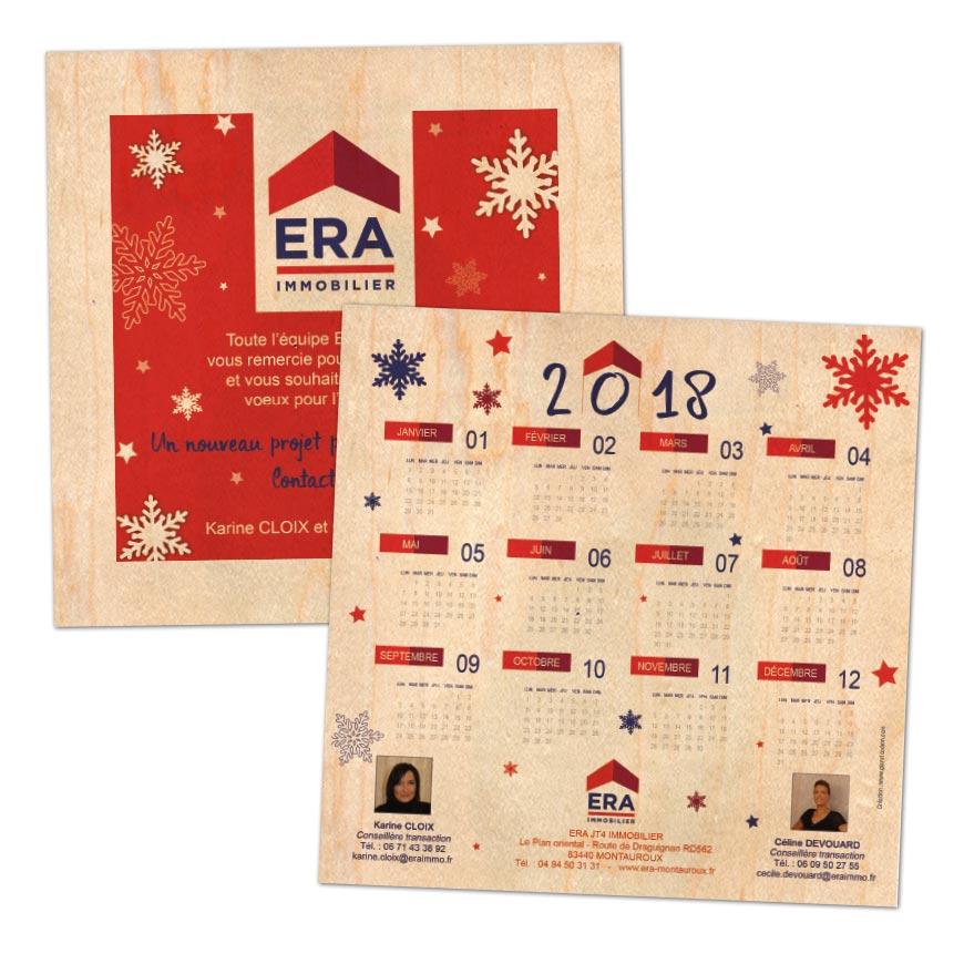carte voeux calendrier impression sur bois