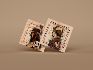 Impression carte bois carrée