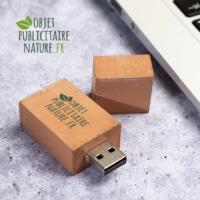 Clé USB personnalisée en béton coloris orange brique